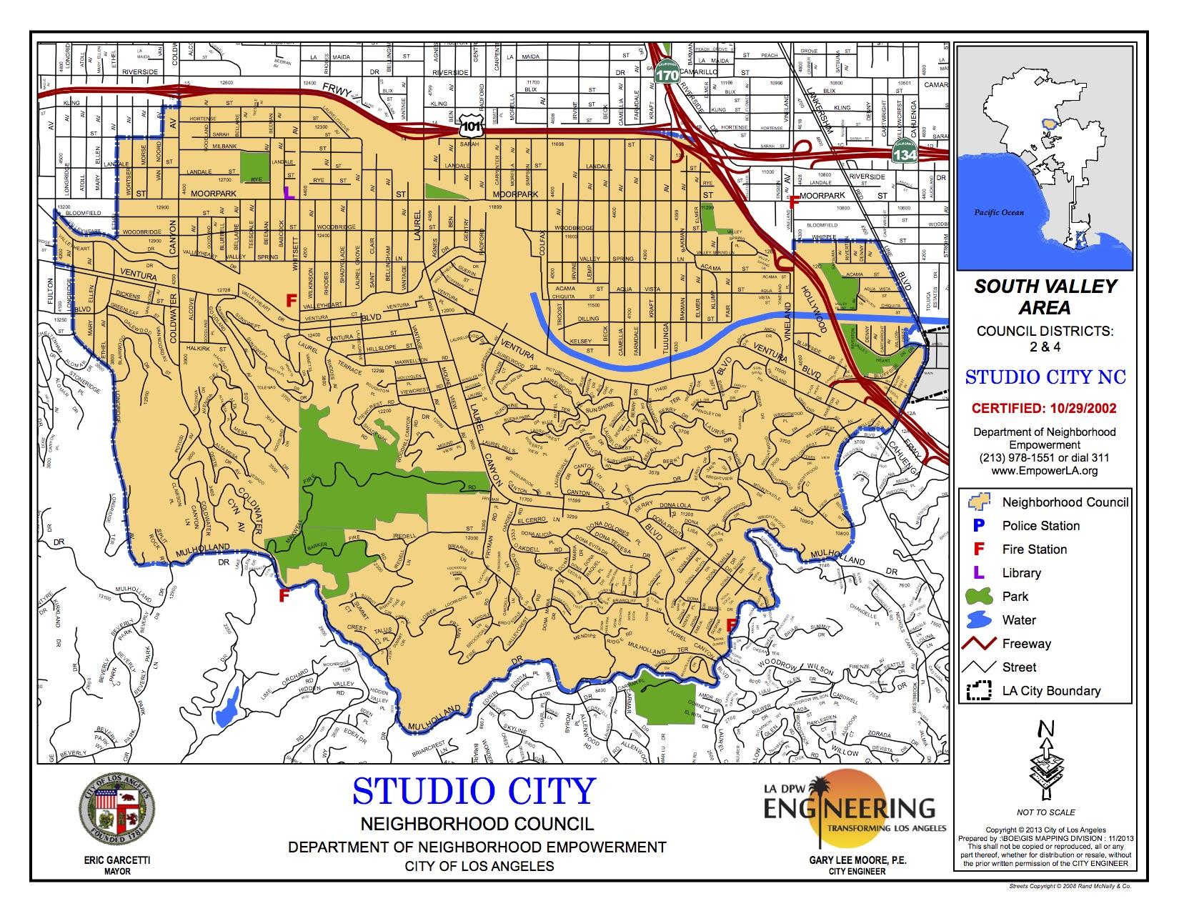 StudioCityNeighborhoodCouncilMap Los Angeles Real Estate - Los angeles map districts